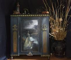 with white egret free hand painted antique bookcase general