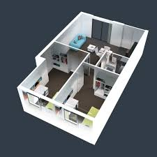 more bedroom 3d floor plans imanada kitchen bathroom cute design