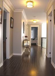 white crown molding grayish blue hallway color and dark wood