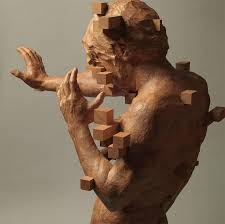 pixelated wood sculptures by hsu tung han u2013 good for the brain