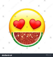 watermelon emoji emoji yellow face red heart eyes stock illustration 701215393