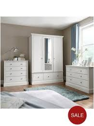 Ready Assembled White Bedroom Furniture Florence 3 Drawer Graduated Bedside Chest In White Or Grey Oak