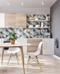Light Gray Cabinets Kitchen by Minimalist Scandinavian Blue Tile Backsplash Light Gray Cabinets