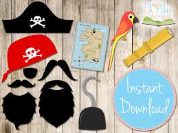 pirate photobooth props printable instant download