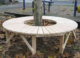 curved bench oak tree seat garden furniture garden bench