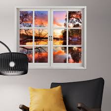 sunset 3d artificial window view 3d wall decals lake view room