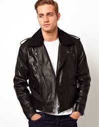 black leather biker jacket asos leather biker jacket with borg collar in black for men lyst