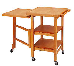 expandable kitchen island folding island expandable hardwood kitchen cart page 1 qvc com