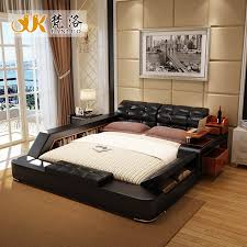 Luxury Bed Frame Modern Leather Size Storage Bed Frame With Side Storage
