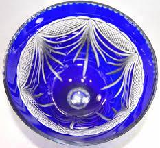 Cobalt Blue Crystal Vase Bohemian Cut To Clear Cobalt Blue Crystal Vase Urn Poland