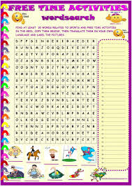 sports and free time activities wordsearch worksheet free esl