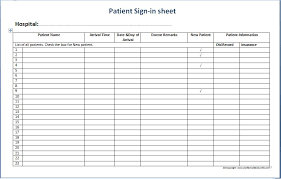 Sign In Sheet Excel Template Patient Sign In Sheet Templates Printable Forms Letters