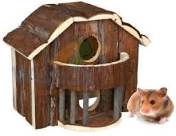 Hamster Bed Trixie Lale Syrian Hamster Gerbil Natural Wooden Cage House Hide