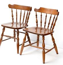 Temple Stuart Dining Room Set Two Stuart Temple Rockport Maple Captain U0027s Chairs Ebth