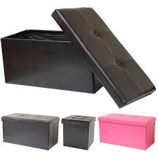 folding ottoman storage chest toy box foot stool black pink brown