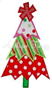 christmas applique whimsy zig zag christmas tree applique design