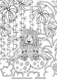 coloring page lovely sloth forest coloring stock vector 457625755
