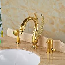 widespread swan shape bathtub mixer faucet set single handle with
