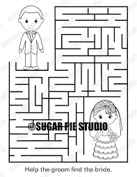 instant download printable wedding coloring page activity maze