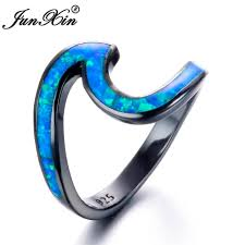 aliexpress buy junxin new arrival black aliexpress buy junxin brand blue opal ring black