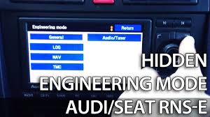 how to unlock secret engineering mode menu in rns e navigation
