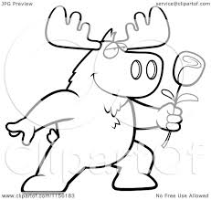 cartoon clipart of a black and white romantic moose presenting a