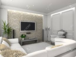 living room with the classic furniture 3d render interior with