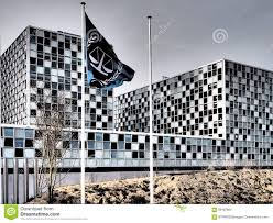 the flag and the international criminal court in dramatic colours