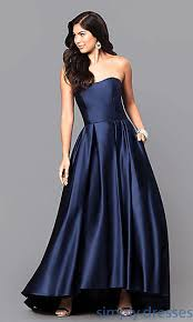 betsy and adam dresses strapless high low prom dress with side pockets