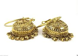 big jhumka gold earrings antique gold plated stud big jhumka bridal earring for woman