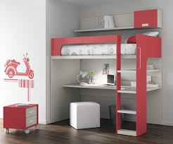 lit surélevé avec bureau lit mezzanine avec bureau pour enfant mixte touch 69 ros 1