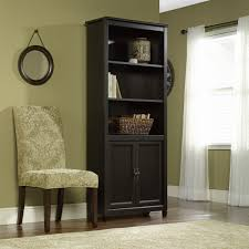 black bookshelf with cabinet edge water library with doors 409046 sauder