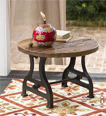 Wood Round End Table Round End Table In Wood U0026 Metal Plow U0026 Hearth