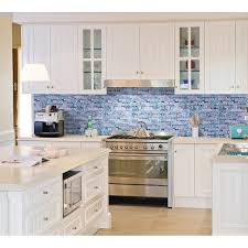 grey marble stone blue glass mosaic tiles backsplash kitchen wall