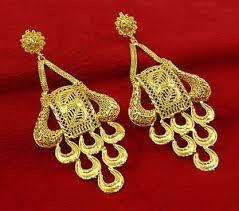 Designer Chandelier Earrings Ethnic Designer Gold Plated Chandelier Earrings Set Indian