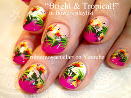 tropical neon flower nail art on pink tips nail design