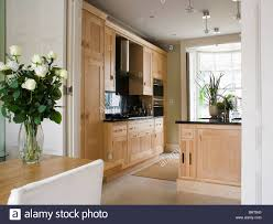 open modern kitchen dining room with double doors open to modern kitchen with pale