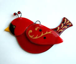 fused glass bird suncatcher cardnial ornament