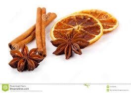 christmas decoration of anise orange and cinnamon stock photos