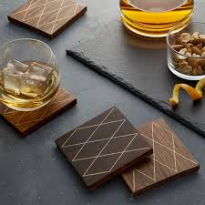 wooden drink coasters crate and barrel