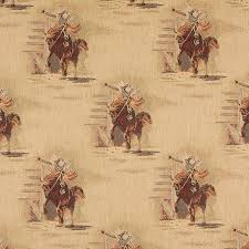 Tapestry Fabrics Upholstery Rodeo Cowboys And Horses Themed Tapestry Upholstery Fabric By The