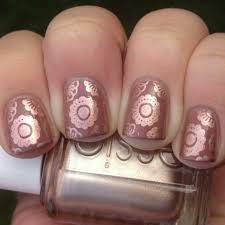 copper and mauve stamped nails polish me please