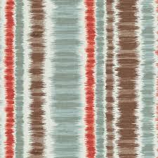 Striped Drapery Fabric Aqua And Red Ikat Stripe Cotton Fabric Modern Drapery Fabric