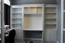 Ikea Desk Hemnes Built In Bookshelves And Desk Using Ikea Hemnes With Crown Molding