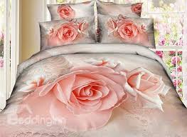 Pink Rose Duvet Cover Set Pink Rose Print 4 Piece Cotton 3d Duvet Cover Sets