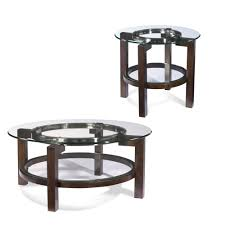 end table set of 2 bassett mirror t1705 oslo round 2 piece glass top coffee table set