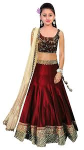 lancha dress buy maroon embroidered benglori silk semi stitched kids lehenga