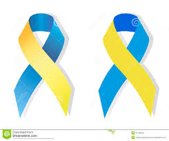blue and yellow ribbon blue and yellow ribbon symbol of with stock