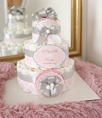 pink and silver baby shower 3 tier baby girl damask pink gray cake baby