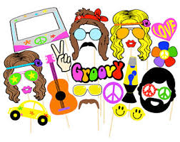 printable hippie photo booth props hippie decor etsy
